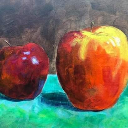 Apples, 9x12, 2018, still life class