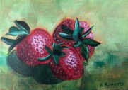 Strawberry Study, 2019, 5x7 acrylic on canvas panel