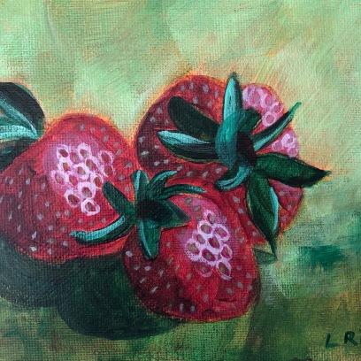 Strawberry Study, 2019, 5x7 acrylic on canvas panel