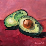 Avocado, 2019, 6x6 oil on canvas panel