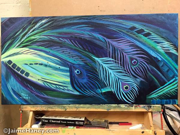 Peacock-Feathers-Painting-Night-Flight-on-easel-by-Jaime-Haney-