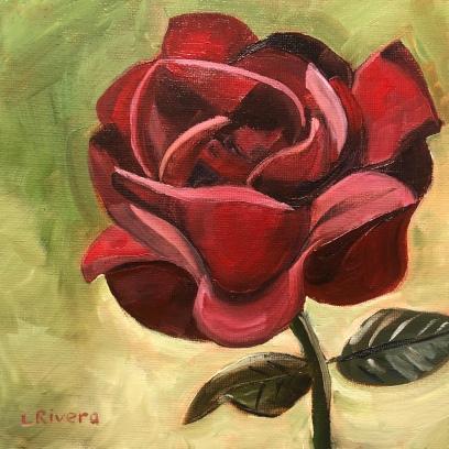 Quarantine Red Rose, 2020, 6x6 oil