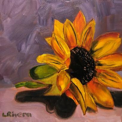 Quarantine Sunflower, 2020, 6x6 oil